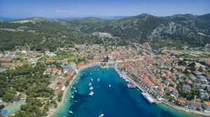 View from the air on the port of town Hvar at the Hvar Island in Croatia - Orvas Villas