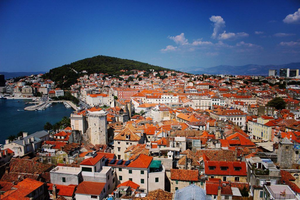 View on red roofs in Split Riviera