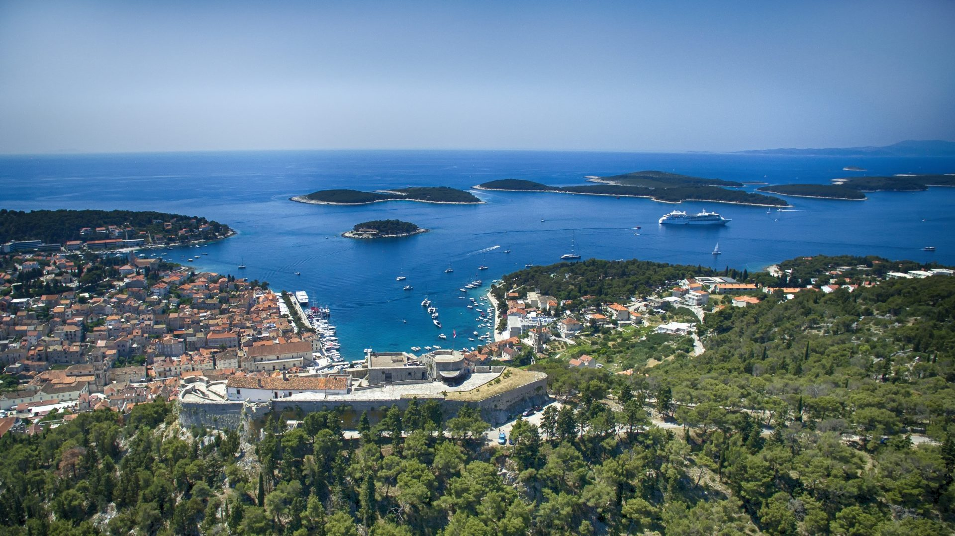 View on Hvar town and Pakleni Islands from the Hvar Fortress - Orvas Villas Croatia