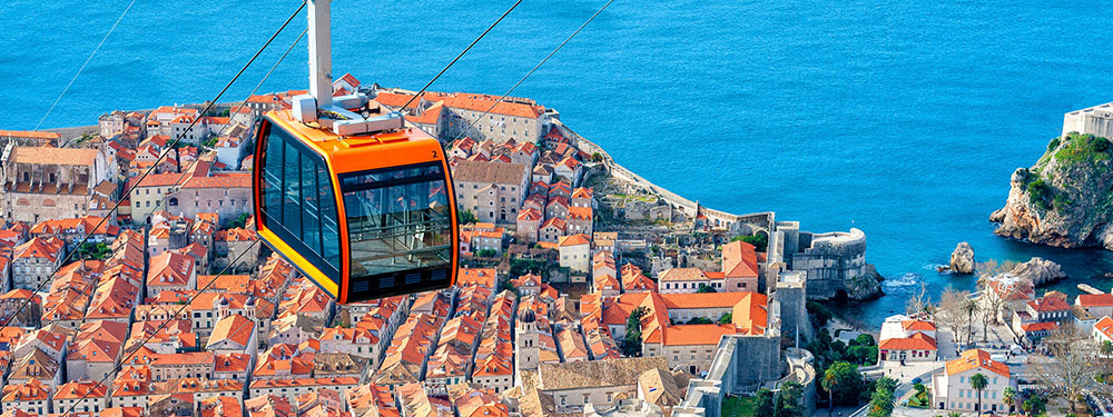 Cable car with a view of Dubrovnik