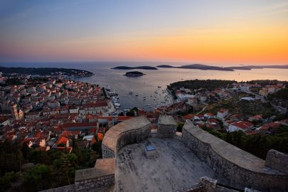 View on Hvar town and Pakleni Islands at sunset from the Hvar Fortress - Orvas Villas Croatia