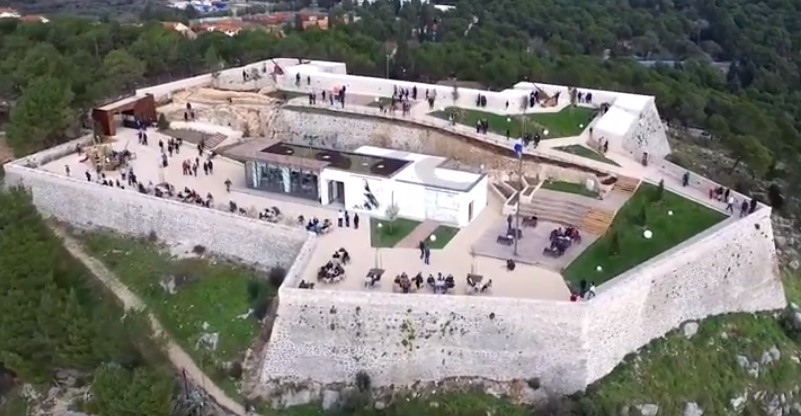 Barone fortress in Sibenik, Croatia - view from the air