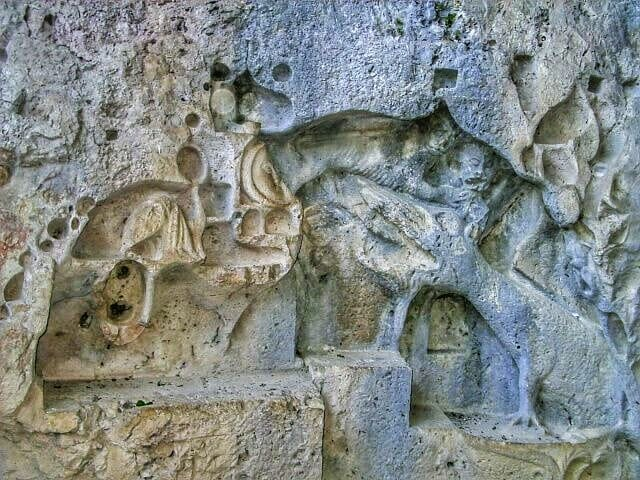 Dragon relief in Dragon`s cave on the island of Brac